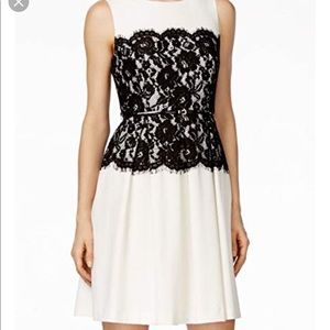 Calvin Klein Pleated Lace Flare Dress 2